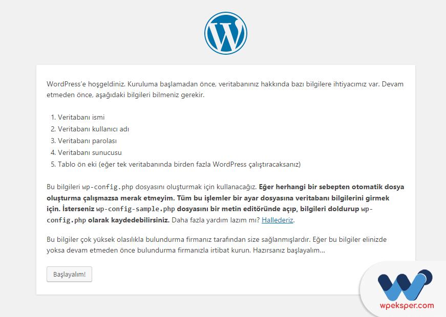 wordpress manuel kurulum - adım 1
