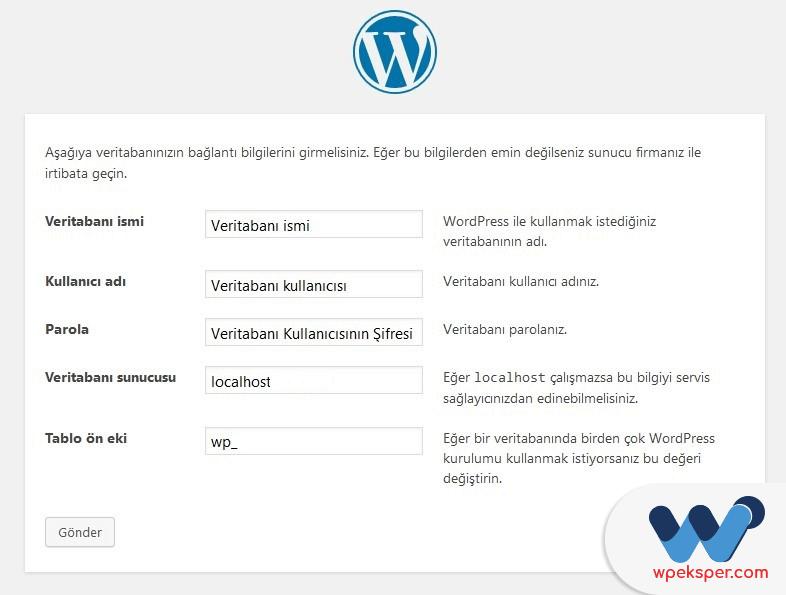 wordpress manuel kurulum - adım 2